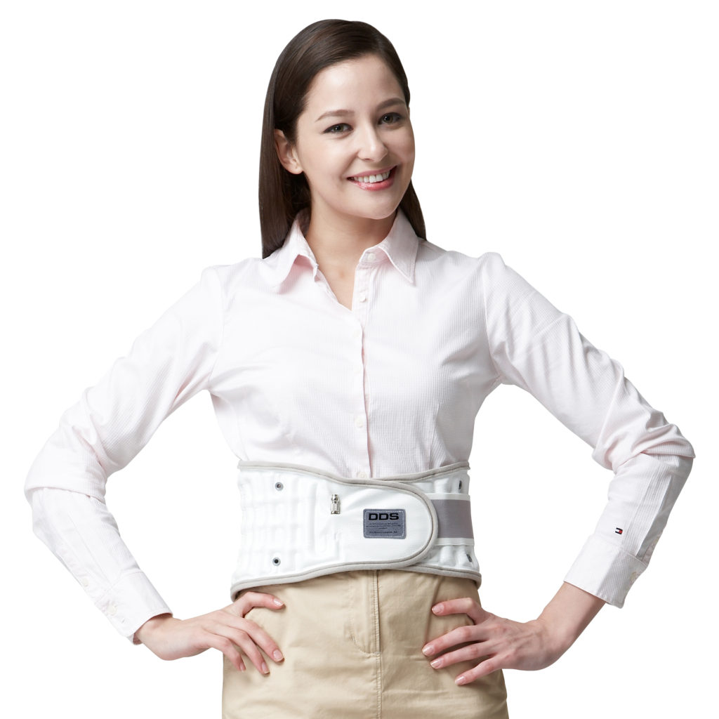 woman wearing lumbar brace